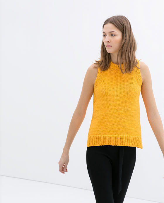 Round Neck Sleeveless Jumper - pattern: plain; sleeve style: sleeveless; style: standard; predominant colour: mustard; occasions: casual, creative work; length: standard; fibres: cotton - mix; fit: standard fit; neckline: crew; sleeve length: sleeveless; texture group: knits/crochet; trends: hot brights; season: s/s 2014