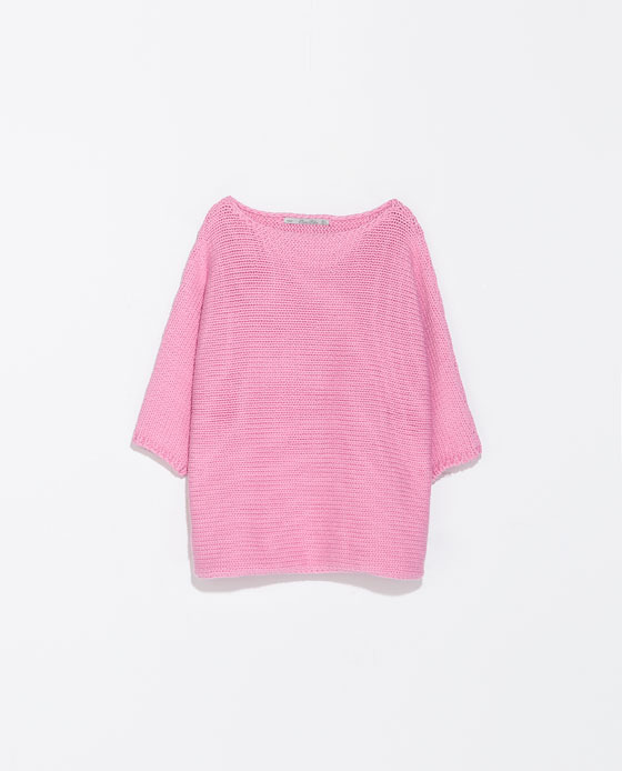 Braided Square Cut Sweater - neckline: slash/boat neckline; sleeve style: dolman/batwing; pattern: plain; style: standard; predominant colour: pink; occasions: casual, work, creative work; length: standard; fibres: cotton - mix; fit: loose; sleeve length: 3/4 length; texture group: knits/crochet; trends: sorbet shades; season: s/s 2014