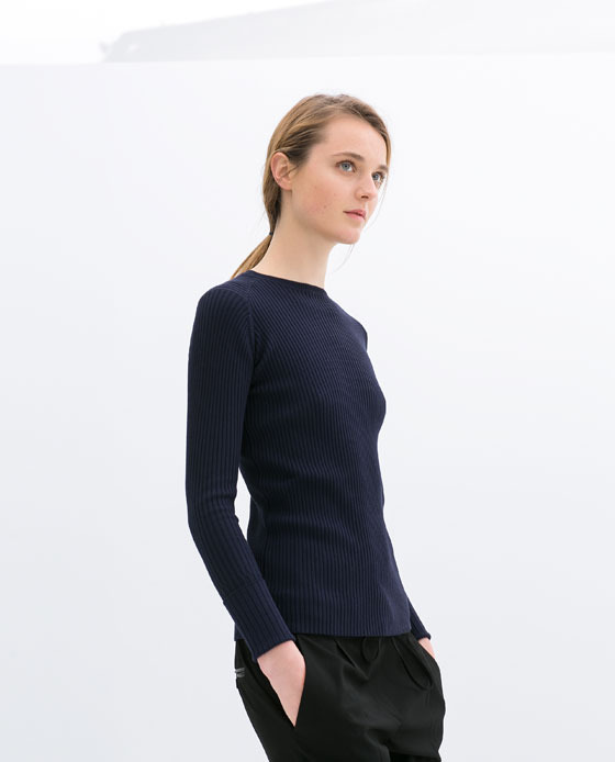 Double Cuff Ribbed Sweater - pattern: plain; style: standard; predominant colour: navy; occasions: casual, work, creative work; length: standard; fibres: viscose/rayon - stretch; fit: standard fit; neckline: crew; sleeve length: long sleeve; sleeve style: standard; texture group: jersey - stretchy/drapey; season: s/s 2014
