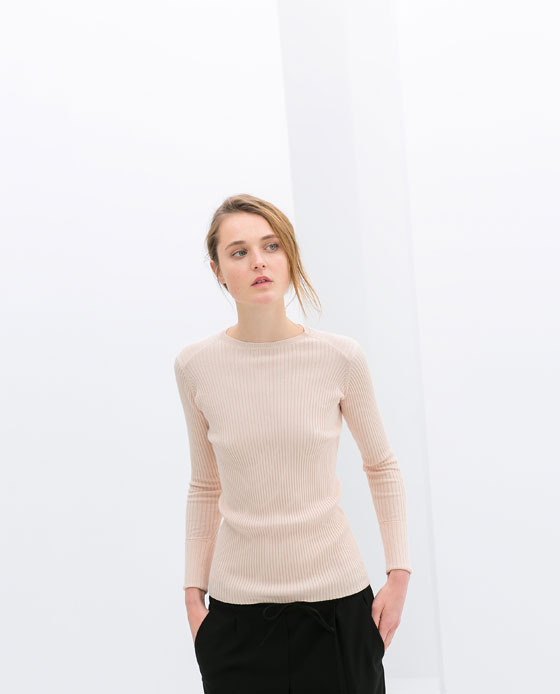 Double Cuff Ribbed Sweater - pattern: plain; style: standard; predominant colour: nude; occasions: casual, creative work; length: standard; fibres: viscose/rayon - stretch; fit: standard fit; neckline: crew; sleeve length: long sleeve; sleeve style: standard; texture group: jersey - stretchy/drapey; trends: sorbet shades; season: s/s 2014