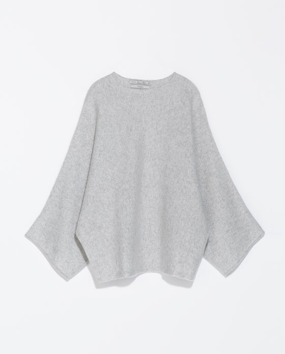 Cashmere Poncho - pattern: plain; length: below the bottom; collar: round collar/collarless; fit: loose; style: poncho/blanket; predominant colour: light grey; occasions: casual, creative work; fibres: cashmere - 100%; sleeve length: long sleeve; texture group: knits/crochet; collar break: high; pattern type: knitted - fine stitch; sleeve style: cape/poncho sleeve; season: s/s 2014