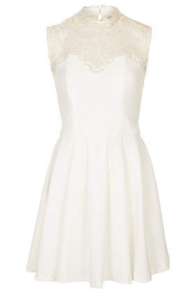 **White Metallic Lace Neckline Dress Rare - pattern: plain; sleeve style: sleeveless; neckline: high neck; predominant colour: white; secondary colour: ivory/cream; occasions: evening, occasion; length: just above the knee; fit: fitted at waist & bust; style: fit & flare; fibres: polyester/polyamide - 100%; sleeve length: sleeveless; texture group: other - light to midweight; embellishment: lace; trends: lace, shimmery metallics; season: s/s 2014