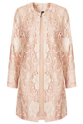 Lace Overlay Coat - collar: round collar/collarless; style: single breasted; length: mid thigh; predominant colour: blush; occasions: evening, occasion; fit: straight cut (boxy); fibres: polyester/polyamide - 100%; sleeve length: long sleeve; sleeve style: standard; texture group: lace; collar break: high; pattern type: fabric; pattern: patterned/print; trends: sorbet shades, lace; season: s/s 2014