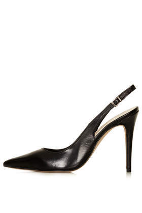 Gecko Black Leather Court Shoes - predominant colour: black; occasions: evening, work, occasion, creative work; material: leather; heel: stiletto; toe: pointed toe; style: slingbacks; finish: plain; pattern: plain; heel height: very high; season: s/s 2014
