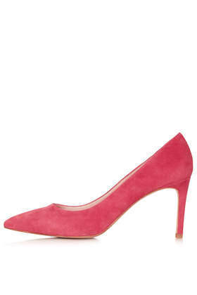 Golden Mid Heel Court Shoes - predominant colour: hot pink; occasions: evening, work, occasion, creative work; material: leather; heel height: high; heel: stiletto; toe: pointed toe; style: courts; finish: plain; pattern: plain; trends: hot brights; season: s/s 2014