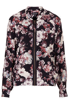 Blurred Flower Bomber Jacket - collar: round collar/collarless; style: bomber; secondary colour: blush; predominant colour: black; occasions: casual, evening, creative work; length: standard; fit: straight cut (boxy); fibres: viscose/rayon - 100%; sleeve length: long sleeve; sleeve style: standard; texture group: crepes; collar break: high; pattern type: fabric; pattern: florals; trends: furious florals; season: s/s 2014; pattern size: big & busy (top)