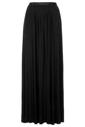Black Jersey Pleat Maxi Skirt - pattern: plain; fit: loose/voluminous; waist: high rise; predominant colour: black; occasions: casual, evening, work, holiday, creative work; length: floor length; style: maxi skirt; fibres: viscose/rayon - stretch; pattern type: fabric; texture group: jersey - stretchy/drapey; season: s/s 2014