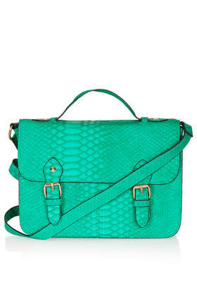 Snake Satchel - predominant colour: emerald green; occasions: casual, work, creative work; type of pattern: light; style: satchel; length: across body/long; size: standard; material: faux leather; pattern: animal print; finish: plain; embellishment: buckles; trends: hot brights; season: s/s 2014