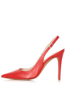 Gecko Red Leather Court Shoes - predominant colour: true red; occasions: evening, work, occasion, creative work; material: leather; heel: stiletto; toe: pointed toe; style: slingbacks; finish: plain; pattern: plain; heel height: very high; trends: hot brights; season: s/s 2014