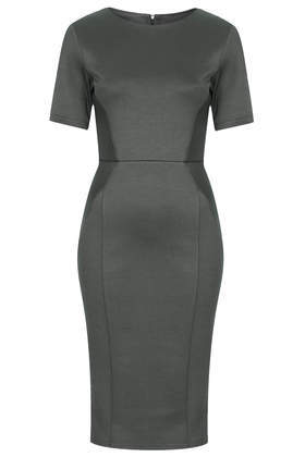 Diamond Seamed Pencil Dress - style: shift; fit: tailored/fitted; pattern: plain; predominant colour: charcoal; occasions: evening, work, occasion, creative work; length: on the knee; fibres: polyester/polyamide - stretch; neckline: crew; sleeve length: short sleeve; sleeve style: standard; texture group: other - light to midweight; season: s/s 2014