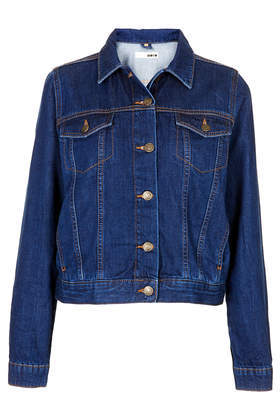 Moto Fitted Western Jacket - pattern: plain; style: denim; predominant colour: navy; occasions: casual, creative work; length: standard; fit: straight cut (boxy); fibres: cotton - 100%; collar: shirt collar/peter pan/zip with opening; sleeve length: long sleeve; sleeve style: standard; texture group: denim; collar break: high/illusion of break when open; pattern type: fabric; season: s/s 2014