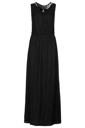 Black Macrame Back Maxi Dress - neckline: v-neck; fit: fitted at waist; pattern: plain; sleeve style: sleeveless; style: maxi dress; predominant colour: black; occasions: casual, evening, holiday, creative work; length: floor length; fibres: viscose/rayon - 100%; sleeve length: sleeveless; texture group: jersey - stretchy/drapey; season: s/s 2014