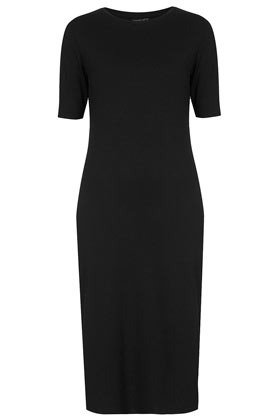 Zip Side Midi Dress - style: shift; length: below the knee; neckline: round neck; pattern: plain; predominant colour: black; occasions: casual, evening, work, creative work; fit: straight cut; fibres: viscose/rayon - stretch; sleeve length: short sleeve; sleeve style: standard; pattern type: fabric; texture group: jersey - stretchy/drapey; season: s/s 2014