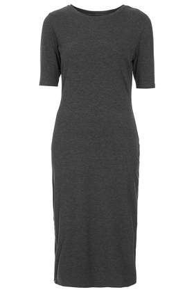Tall Side Zip Midi Dress - style: shift; length: below the knee; neckline: round neck; pattern: plain; predominant colour: charcoal; occasions: casual, evening, work, creative work; fit: body skimming; fibres: cotton - 100%; sleeve length: short sleeve; sleeve style: standard; pattern type: fabric; texture group: jersey - stretchy/drapey; season: s/s 2014