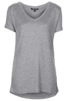Tall Viscose V Tee - neckline: low v-neck; pattern: plain; length: below the bottom; style: t-shirt; predominant colour: mid grey; occasions: casual, creative work; fibres: viscose/rayon - 100%; fit: body skimming; sleeve length: short sleeve; sleeve style: standard; pattern type: fabric; texture group: jersey - stretchy/drapey; season: s/s 2014