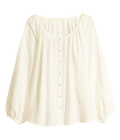 + Bohemian Style Blouse - neckline: low v-neck; pattern: plain; sleeve style: balloon; style: blouse; predominant colour: ivory/cream; occasions: casual, holiday, creative work; length: standard; fibres: cotton - 100%; fit: loose; sleeve length: long sleeve; texture group: cotton feel fabrics; pattern type: fabric; season: s/s 2014