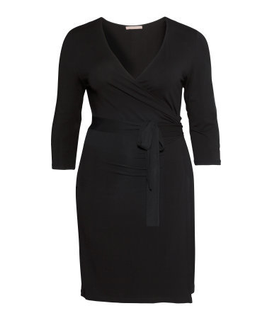 + Wraparound Dress - style: faux wrap/wrap; neckline: low v-neck; pattern: plain; predominant colour: black; occasions: casual, evening, work, creative work; length: just above the knee; fit: body skimming; fibres: viscose/rayon - stretch; sleeve length: 3/4 length; sleeve style: standard; pattern type: fabric; texture group: jersey - stretchy/drapey; season: s/s 2014