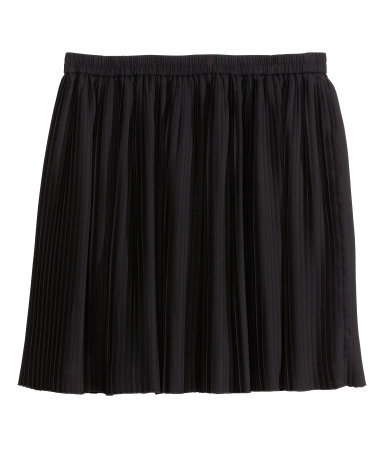 + Pleated Skirt - length: mid thigh; pattern: plain; fit: loose/voluminous; style: pleated; waist: mid/regular rise; predominant colour: black; occasions: casual, evening, creative work; fibres: polyester/polyamide - 100%; hip detail: subtle/flattering hip detail; waist detail: feature waist detail; pattern type: fabric; texture group: woven light midweight; season: s/s 2014