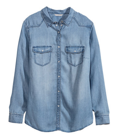 + Denim Shirt - neckline: shirt collar/peter pan/zip with opening; pattern: plain; length: below the bottom; style: shirt; predominant colour: denim; occasions: casual, creative work; fibres: cotton - 100%; fit: straight cut; sleeve length: long sleeve; sleeve style: standard; texture group: denim; pattern type: fabric; season: s/s 2014