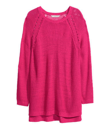 + Knitted Jumper - neckline: round neck; pattern: plain; length: below the bottom; style: standard; predominant colour: hot pink; occasions: casual, creative work; fibres: acrylic - 100%; fit: loose; sleeve length: long sleeve; sleeve style: standard; texture group: knits/crochet; pattern type: knitted - other; trends: hot brights; season: s/s 2014