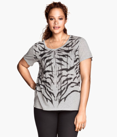 + T Shirt With A Print - style: t-shirt; predominant colour: mid grey; secondary colour: black; occasions: casual, holiday, creative work; length: standard; neckline: scoop; fibres: viscose/rayon - 100%; fit: loose; sleeve length: short sleeve; sleeve style: standard; pattern type: fabric; pattern: animal print; texture group: jersey - stretchy/drapey; season: s/s 2014; pattern size: big & busy (top)