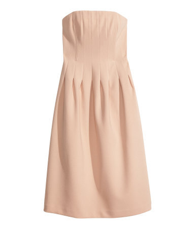 Bandeau Dress - length: below the knee; neckline: strapless (straight/sweetheart); pattern: plain; sleeve style: strapless; predominant colour: nude; occasions: evening, occasion; fit: fitted at waist & bust; style: fit & flare; fibres: polyester/polyamide - stretch; hip detail: adds bulk at the hips; sleeve length: sleeveless; pattern type: fabric; texture group: woven light midweight; trends: sorbet shades, powerful pleats; season: s/s 2014
