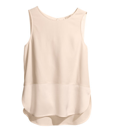 Crêpe Top - neckline: round neck; pattern: plain; sleeve style: sleeveless; length: below the bottom; style: vest top; predominant colour: nude; occasions: casual, evening, holiday, creative work; fibres: viscose/rayon - 100%; fit: straight cut; back detail: longer hem at back than at front; sleeve length: sleeveless; texture group: crepes; pattern type: fabric; season: s/s 2014