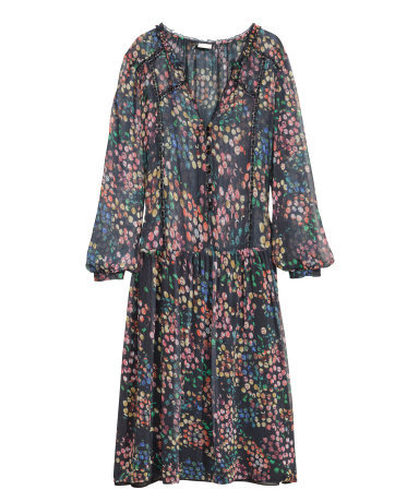 Crinkled Dress - style: tunic; length: below the knee; neckline: low v-neck; fit: loose; sleeve style: balloon; secondary colour: purple; predominant colour: black; occasions: casual, creative work; fibres: polyester/polyamide - 100%; sleeve length: long sleeve; texture group: sheer fabrics/chiffon/organza etc.; pattern type: fabric; pattern size: standard; pattern: patterned/print; season: s/s 2014