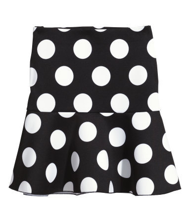 Short Scuba Skirt - length: mid thigh; fit: loose/voluminous; pattern: polka dot; waist: mid/regular rise; secondary colour: white; predominant colour: black; occasions: casual, creative work; fibres: polyester/polyamide - stretch; hip detail: soft pleats at hip/draping at hip/flared at hip; pattern type: fabric; texture group: other - light to midweight; season: s/s 2014; trends: monochrome; pattern size: light/subtle (bottom)
