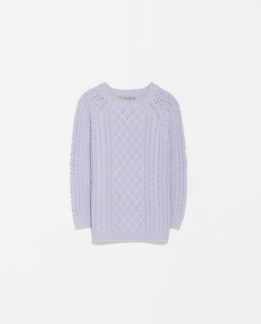 Fancy Knit Sweater - neckline: round neck; style: standard; pattern: cable knit; predominant colour: lilac; occasions: casual, creative work; length: standard; fibres: acrylic - 100%; fit: standard fit; sleeve length: 3/4 length; sleeve style: standard; texture group: knits/crochet; pattern type: knitted - big stitch; pattern size: standard; trends: sorbet shades; season: s/s 2014