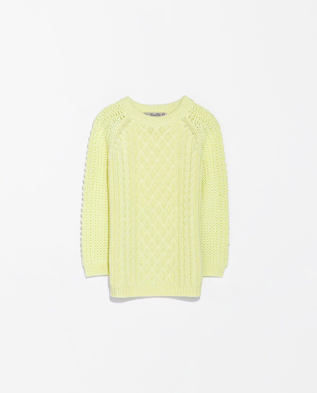 Fancy Knit Sweater - neckline: round neck; style: standard; pattern: cable knit; predominant colour: primrose yellow; occasions: casual, creative work; length: standard; fibres: acrylic - 100%; fit: standard fit; sleeve length: 3/4 length; sleeve style: standard; texture group: knits/crochet; pattern type: knitted - big stitch; pattern size: standard; trends: sorbet shades; season: s/s 2014