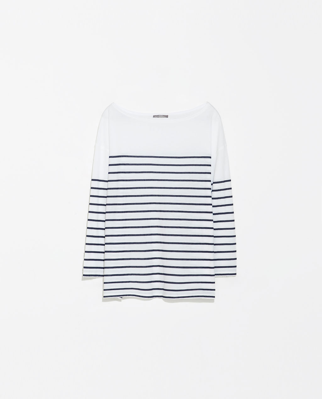Striped T Shirt - neckline: slash/boat neckline; pattern: horizontal stripes; style: t-shirt; secondary colour: white; predominant colour: navy; occasions: casual, work, creative work; length: standard; fibres: cotton - 100%; fit: straight cut; sleeve length: 3/4 length; sleeve style: standard; pattern type: fabric; texture group: jersey - stretchy/drapey; season: s/s 2014; pattern size: big & busy (top)