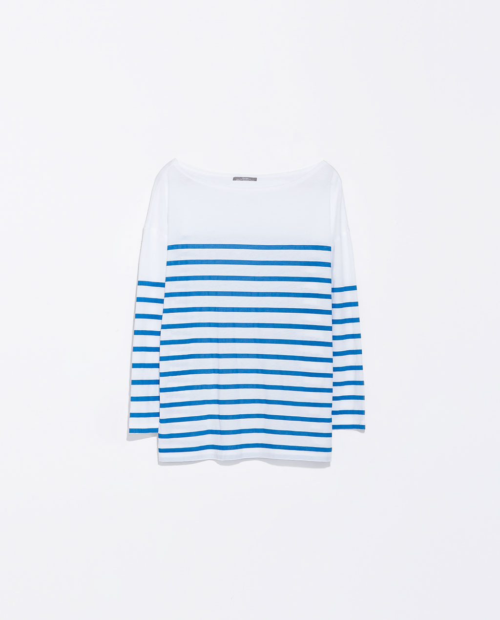 Striped T Shirt - neckline: slash/boat neckline; pattern: horizontal stripes; predominant colour: white; secondary colour: diva blue; occasions: casual, creative work; length: standard; style: top; fibres: cotton - 100%; fit: straight cut; sleeve length: 3/4 length; sleeve style: standard; pattern type: fabric; pattern size: light/subtle; texture group: jersey - stretchy/drapey; season: s/s 2014