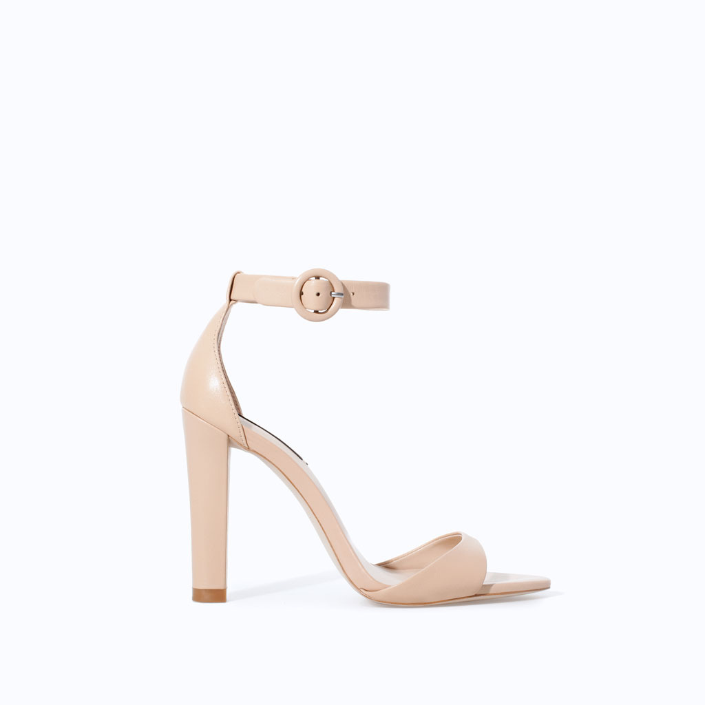 Leather Wide Heel Sandal - predominant colour: nude; occasions: evening, occasion, holiday, creative work; material: leather; ankle detail: ankle strap; heel: standard; toe: open toe/peeptoe; style: strappy; finish: plain; pattern: plain; heel height: very high; season: s/s 2014