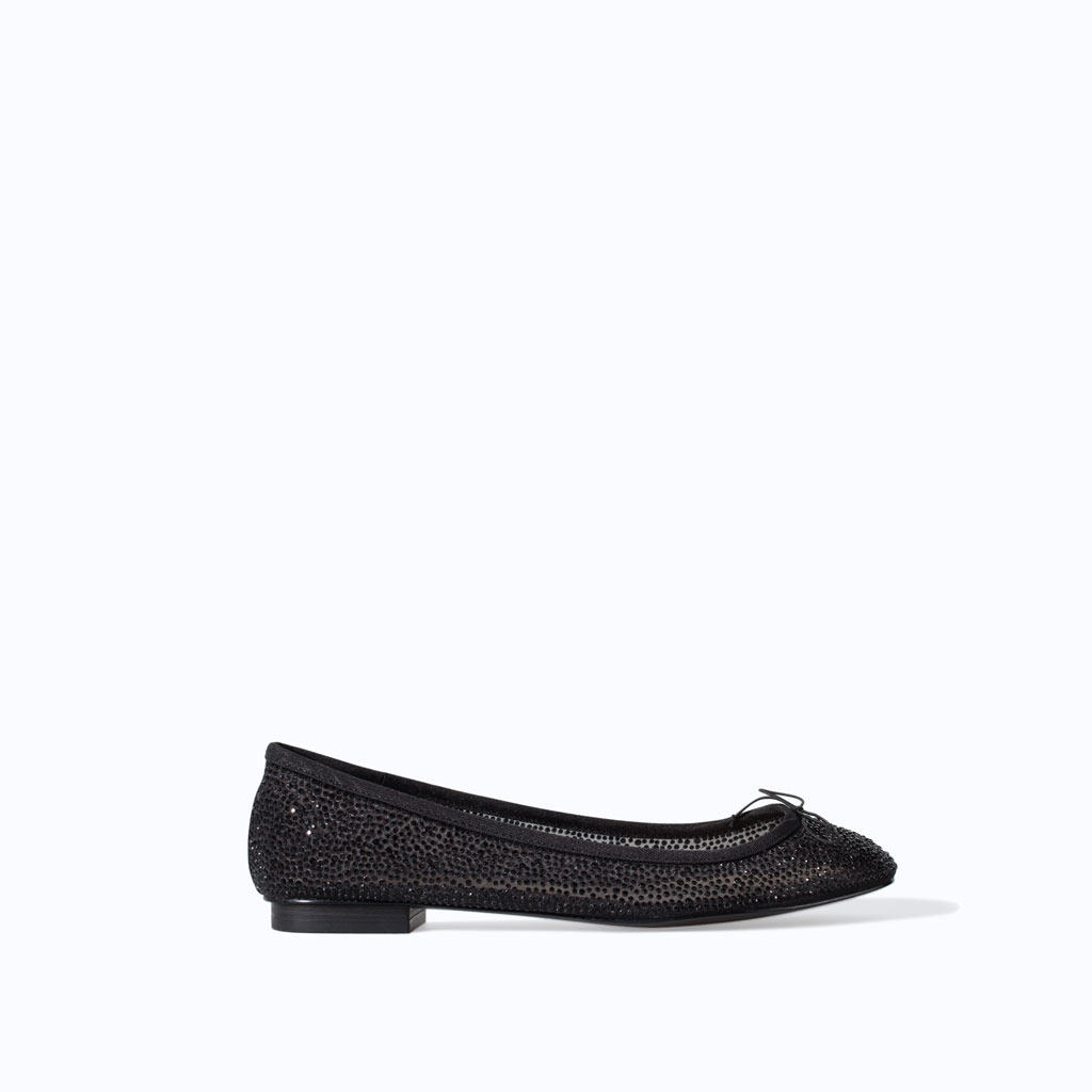 Shiny Ballerina Flats - predominant colour: black; occasions: casual, evening, work, creative work; material: fabric; heel height: flat; embellishment: glitter; toe: round toe; style: ballerinas / pumps; finish: plain; pattern: plain; trends: summer sparkle, shimmery metallics; season: s/s 2014