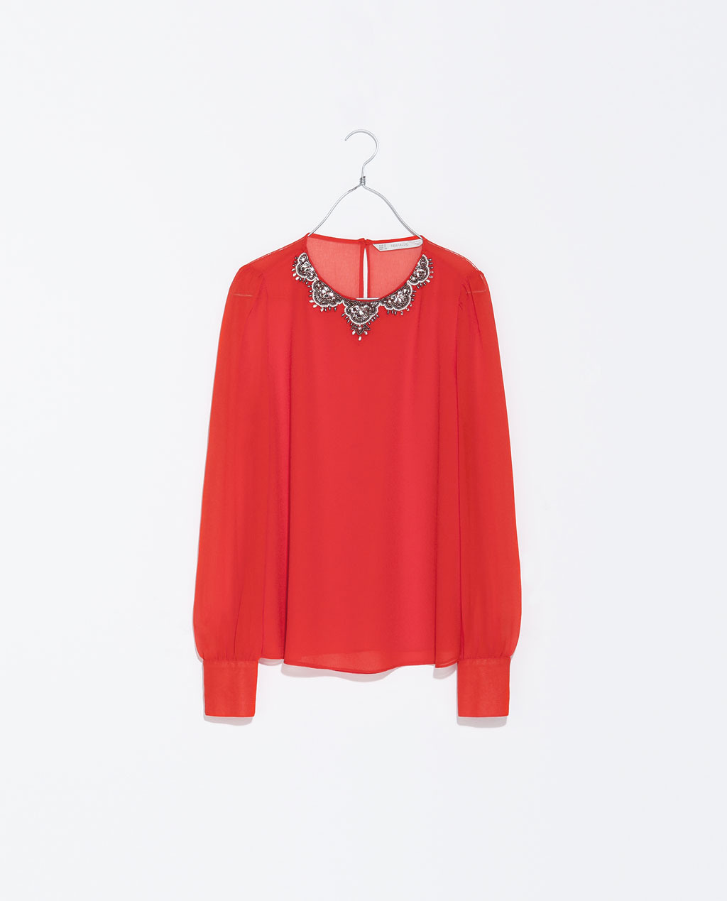 Top With Collar Detail - neckline: round neck; pattern: plain; style: blouse; predominant colour: true red; secondary colour: black; occasions: casual, evening, occasion, creative work; length: standard; fibres: polyester/polyamide - 100%; fit: loose; sleeve length: long sleeve; sleeve style: standard; texture group: sheer fabrics/chiffon/organza etc.; pattern type: fabric; embellishment: beading; trends: hot brights, summer sparkle, sheer; season: s/s 2014