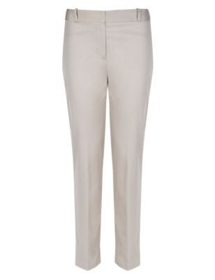 Cotton Rich Slim Leg 7/8 Trousers - pattern: plain; waist: high rise; predominant colour: stone; occasions: casual, creative work; length: ankle length; fibres: cotton - stretch; fit: slim leg; pattern type: fabric; texture group: woven light midweight; style: standard; season: s/s 2014
