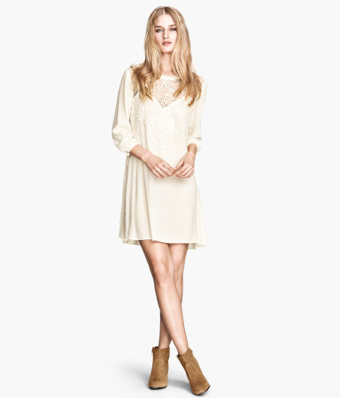 Lace Dress - style: tunic; length: mid thigh; neckline: round neck; fit: loose; pattern: plain; bust detail: added detail/embellishment at bust; sleeve style: balloon; predominant colour: ivory/cream; occasions: casual, evening, holiday, creative work; fibres: viscose/rayon - 100%; sleeve length: 3/4 length; texture group: silky - light; pattern type: fabric; embellishment: lace; trends: lace; season: s/s 2014