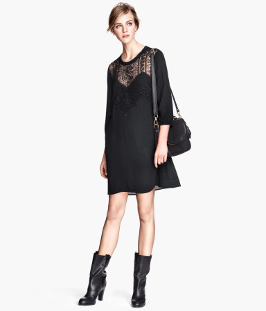 Lace Dress - style: tunic; length: mid thigh; neckline: round neck; fit: loose; pattern: plain; predominant colour: black; occasions: casual, evening, holiday, creative work; fibres: viscose/rayon - 100%; sleeve length: 3/4 length; sleeve style: standard; texture group: silky - light; pattern type: fabric; embellishment: lace; season: s/s 2014; shoulder detail: sheer at shoulder; wardrobe: highlight; embellishment location: shoulder