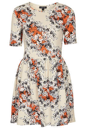 Floral Texture Flippy Dress - length: mid thigh; neckline: round neck; predominant colour: ivory/cream; secondary colour: bright orange; occasions: casual, holiday, creative work; fit: fitted at waist & bust; style: fit & flare; fibres: cotton - stretch; sleeve length: short sleeve; sleeve style: standard; pattern type: fabric; pattern size: big & busy; pattern: florals; texture group: jersey - stretchy/drapey; trends: furious florals; season: s/s 2014