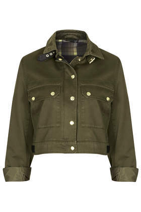 Cropped Military Jacket - pattern: plain; predominant colour: khaki; occasions: casual, creative work; fit: straight cut (boxy); fibres: cotton - 100%; collar: shirt collar/peter pan/zip with opening; sleeve length: 3/4 length; sleeve style: standard; collar break: high; pattern type: fabric; texture group: woven light midweight; style: single breasted military jacket; season: s/s 2014; length: cropped