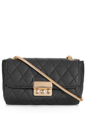 Quilted Crossbody Bag - secondary colour: gold; predominant colour: black; type of pattern: standard; style: shoulder; length: across body/long; size: standard; material: faux leather; embellishment: quilted; pattern: plain; finish: plain; occasions: creative work; season: s/s 2014