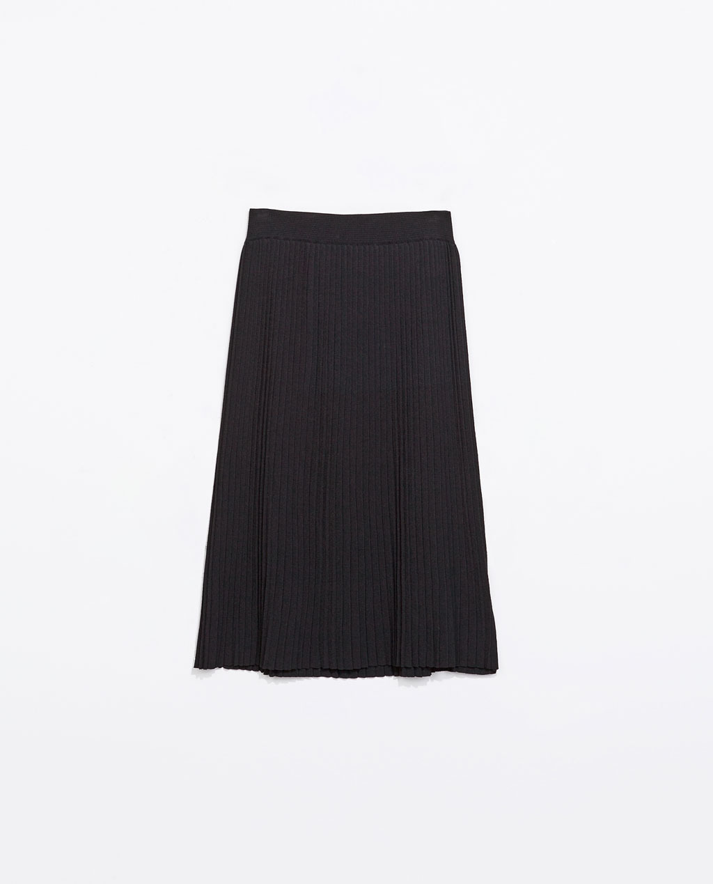 Knee Length Fine Pleat Skirt - pattern: plain; fit: loose/voluminous; style: pleated; waist: high rise; predominant colour: navy; occasions: casual, evening, work, creative work; length: on the knee; hip detail: adds bulk at the hips; pattern type: knitted - other; texture group: other - light to midweight; trends: powerful pleats; season: s/s 2014