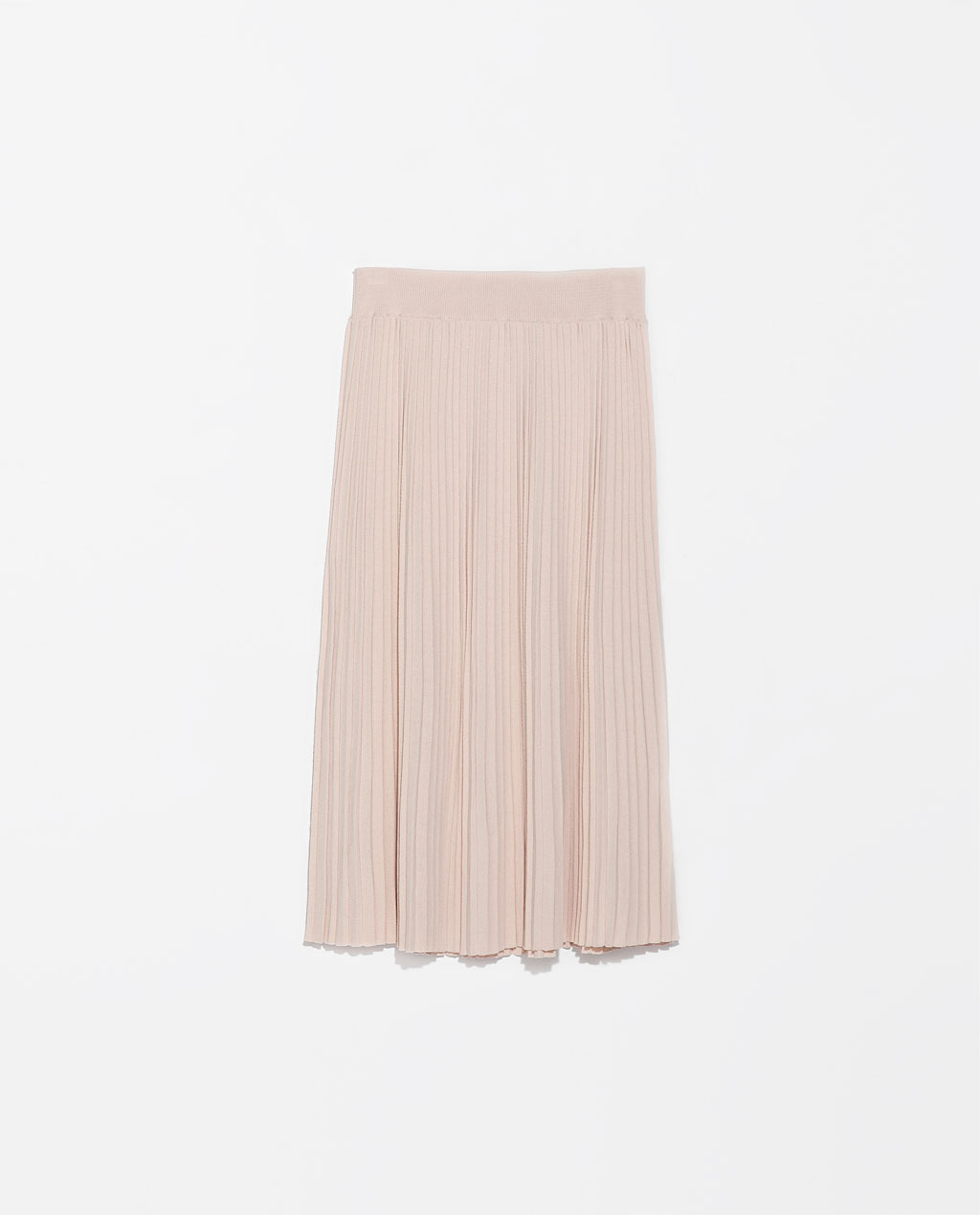 Knee Length Fine Pleat Skirt - pattern: plain; fit: loose/voluminous; style: pleated; waist: high rise; predominant colour: blush; occasions: casual, evening, work, occasion, holiday, creative work; length: on the knee; hip detail: structured pleats at hip; pattern type: knitted - fine stitch; texture group: other - light to midweight; fibres: viscose/rayon - mix; trends: sorbet shades, summer sparkle, powerful pleats; season: s/s 2014