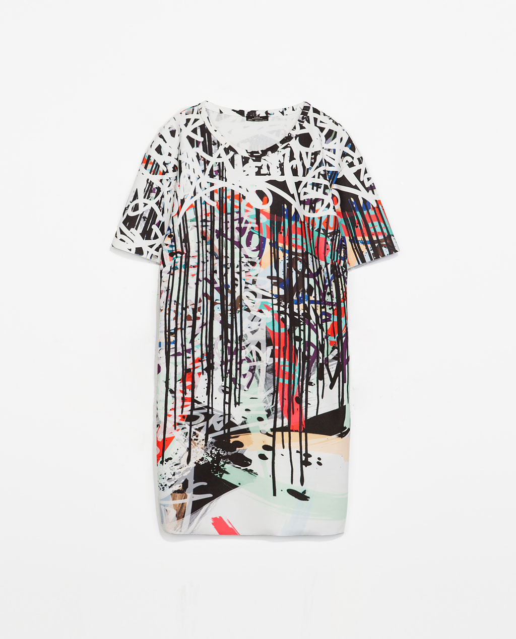 Urban Art Dress - style: t-shirt; length: mid thigh; neckline: round neck; occasions: casual, occasion, creative work; fit: straight cut; fibres: polyester/polyamide - stretch; predominant colour: multicoloured; sleeve length: short sleeve; sleeve style: standard; pattern type: fabric; pattern size: big & busy; pattern: patterned/print; texture group: jersey - stretchy/drapey; trends: art-party prints; season: s/s 2014; multicoloured: multicoloured