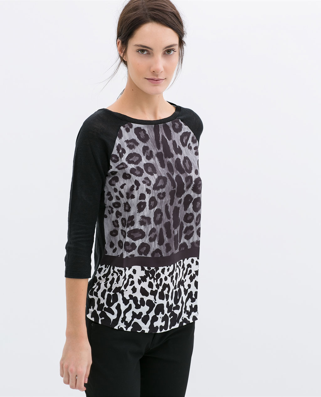 Printed Combined T Shirt - neckline: round neck; sleeve style: raglan; secondary colour: white; predominant colour: black; occasions: casual, evening, creative work; length: standard; style: top; fibres: linen - 100%; fit: straight cut; sleeve length: 3/4 length; texture group: linen; pattern: animal print; trends: world traveller, monochrome; season: s/s 2014; pattern size: big & busy (top)