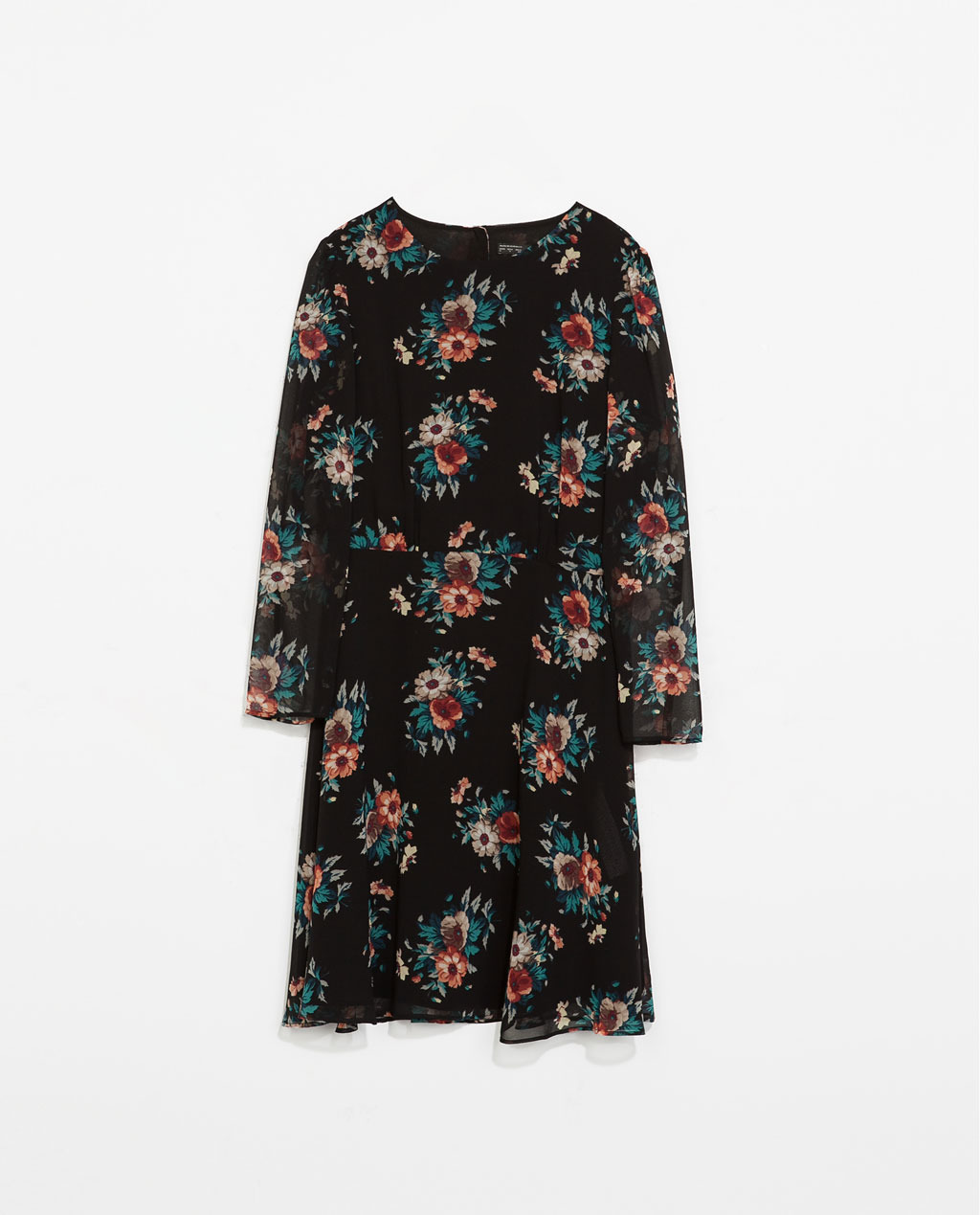 Floral Print Dress - style: shift; neckline: round neck; secondary colour: dark green; predominant colour: black; occasions: casual, evening, holiday, creative work; length: just above the knee; fit: fitted at waist & bust; fibres: polyester/polyamide - 100%; sleeve length: 3/4 length; sleeve style: standard; texture group: sheer fabrics/chiffon/organza etc.; pattern type: fabric; pattern size: standard; pattern: florals; trends: furious florals; season: s/s 2014