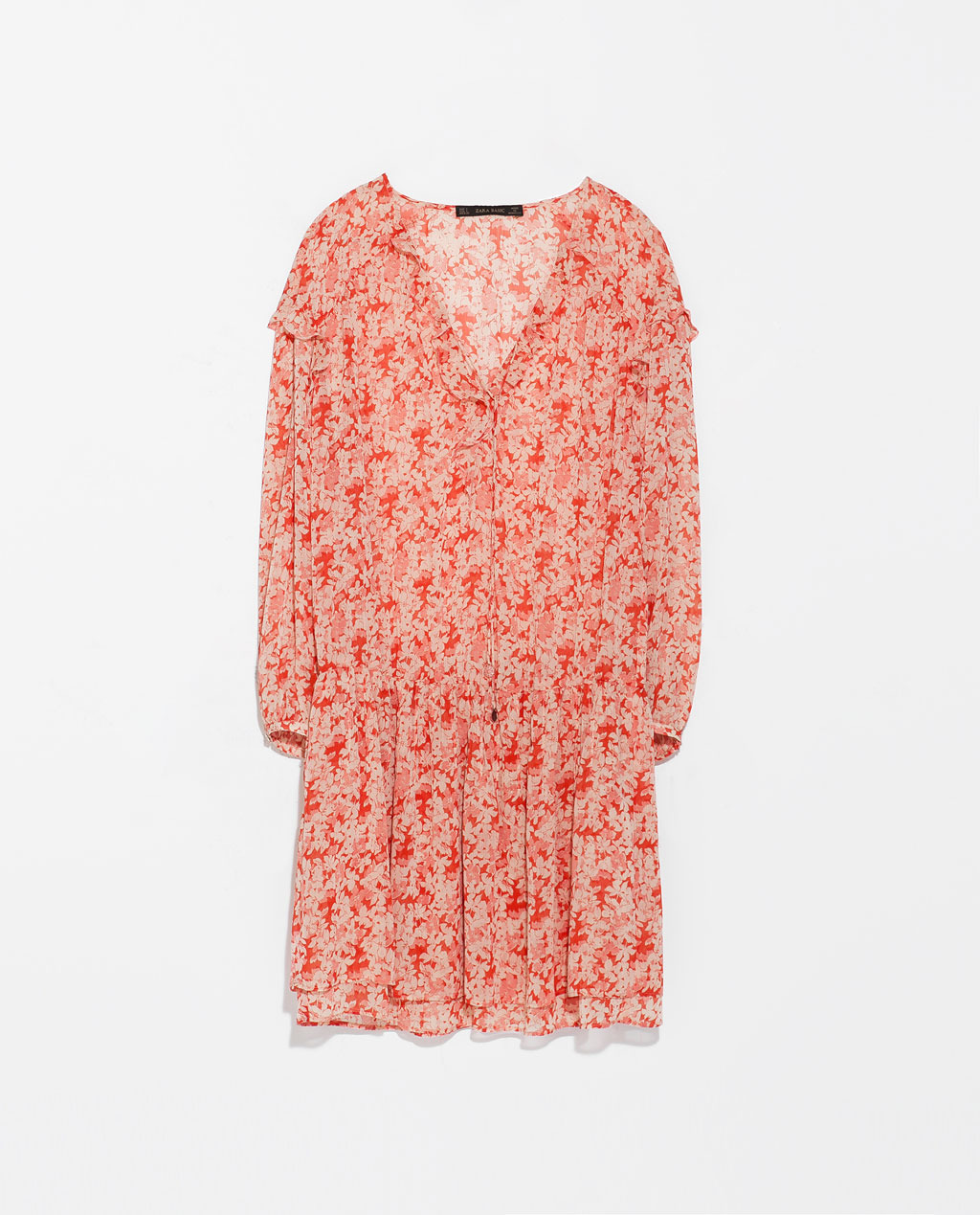 V Neck Dress - length: mid thigh; neckline: low v-neck; fit: loose; style: blouson; waist detail: elasticated waist; predominant colour: pink; secondary colour: coral; occasions: casual, holiday, creative work; fibres: polyester/polyamide - 100%; hip detail: soft pleats at hip/draping at hip/flared at hip; sleeve length: long sleeve; sleeve style: standard; texture group: sheer fabrics/chiffon/organza etc.; pattern type: fabric; pattern size: standard; pattern: patterned/print; season: s/s 2014