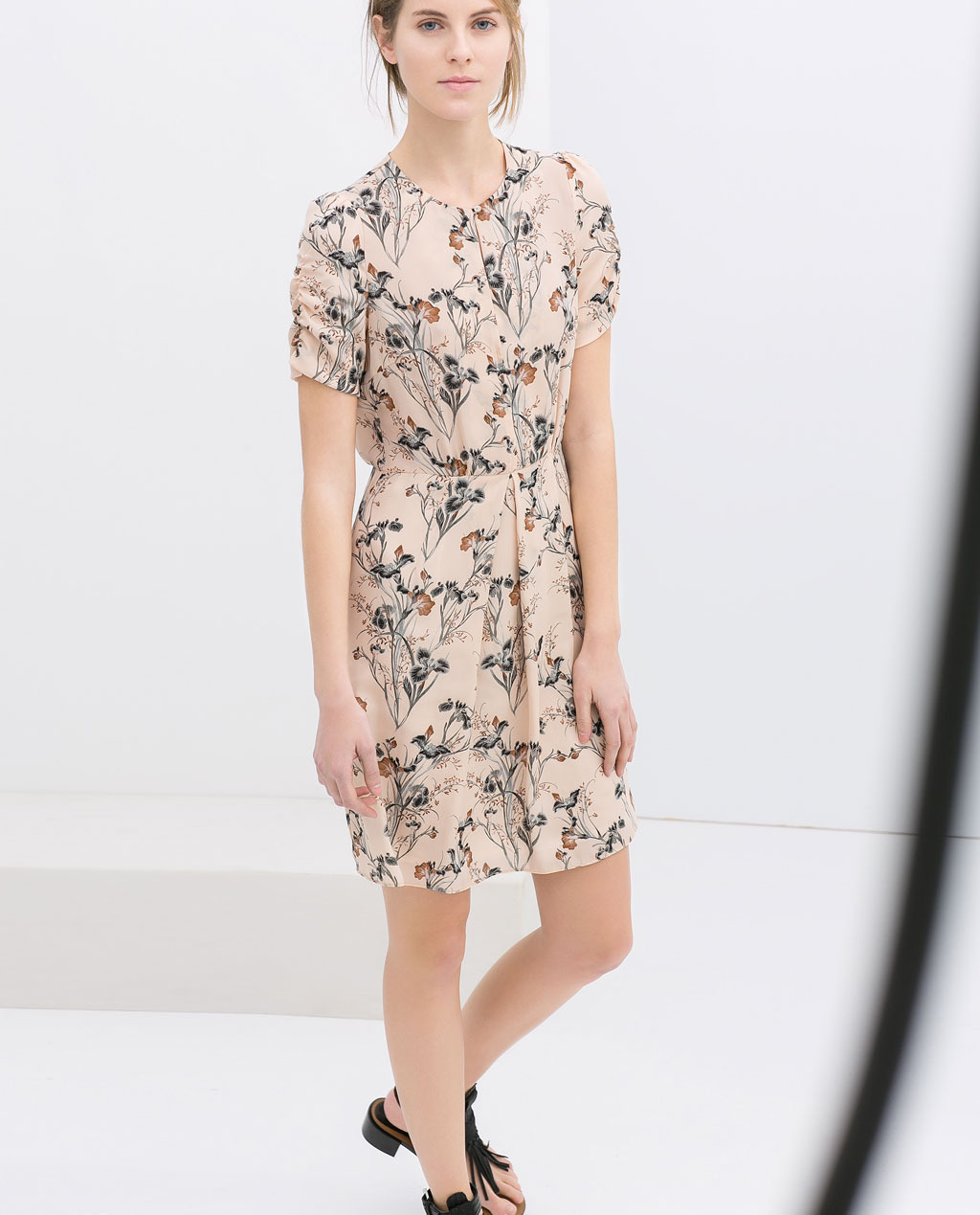 Printed Dress - style: shift; neckline: round neck; predominant colour: nude; secondary colour: charcoal; occasions: casual, holiday, creative work; length: just above the knee; fit: body skimming; fibres: polyester/polyamide - 100%; sleeve length: short sleeve; sleeve style: standard; pattern type: fabric; pattern size: standard; pattern: florals; texture group: other - light to midweight; season: s/s 2014