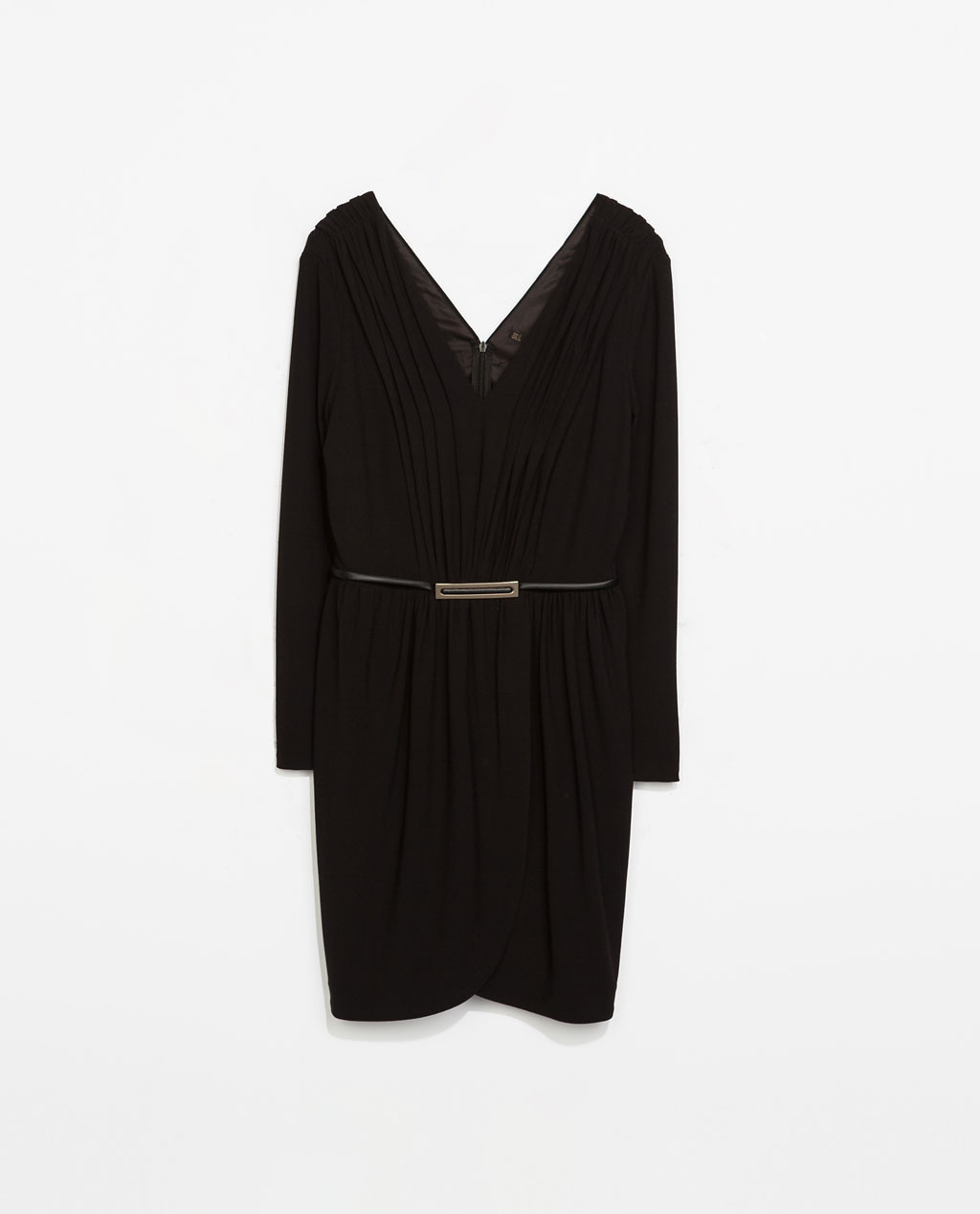 V Neck Knit Dress - style: shift; neckline: low v-neck; pattern: plain; back detail: low cut/open back; waist detail: belted waist/tie at waist/drawstring; predominant colour: black; occasions: casual, evening, creative work; length: just above the knee; fit: body skimming; fibres: polyester/polyamide - stretch; sleeve length: long sleeve; sleeve style: standard; texture group: knits/crochet; pattern type: knitted - other; season: s/s 2014